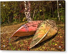 Autumn Canoes Acrylic Print by Debra and Dave Vanderlaan