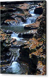 Autumn Cascade Acrylic Print by Frozen in Time Fine Art Photography