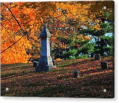 Autumn Cemetery Visit Acrylic Print