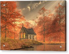 Autumn Chapel Acrylic Print by Christian Art