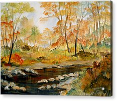 Acrylic Print featuring the painting Autumn Colors By The River by Dorothy Maier