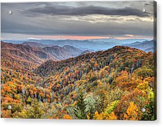 Autumn Colors On The Blue Ridge Parkway At Sunset Acrylic Print