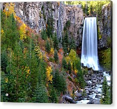 Acrylic Print featuring the photograph Autumn Colors Surround Tumalo Falls by Kevin Desrosiers