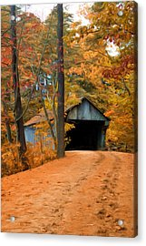 Autumn Covered Bridge Acrylic Print by Joann Vitali