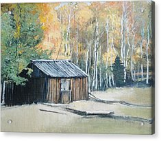 Autumn Descends On The Old Logger's Cabin Acrylic Print by Terri Ana Stokes