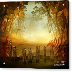 Autumn Design - Forest With Wood Fence Acrylic Print by Mythja  Photography