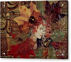 Autumn Dryad Collage Acrylic Print by Maureen Tillman