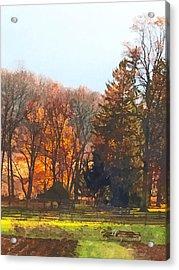 Autumn Farm With Harrow Acrylic Print