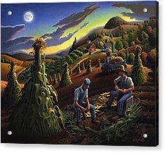 Autumn Farmers Shucking Corn Appalachian Rural Farm Country Harvesting Landscape - Harvest Folk Art Acrylic Print by Walt Curlee