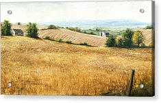 Autumn Fields Maryland Rt40 West Acrylic Print by G Linsenmayer