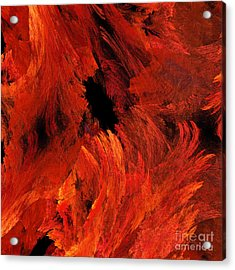 Autumn Fire Abstract Square Acrylic Print by Andee Design