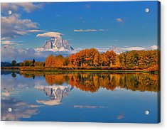 Autumn Foliage At The Oxbow Acrylic Print