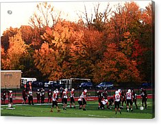 Autumn Football With Dry Brush Effect Acrylic Print by Frank Romeo
