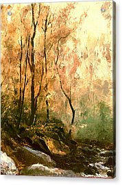 Acrylic Print featuring the painting Autumn Forest Baltimore Maryland by G Linsenmayer