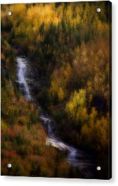 Acrylic Print featuring the photograph Autumn Forest Falls by Ellen Heaverlo