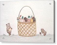 Autumn Fruit Basket And Bears Acrylic Print by Christine Corretti