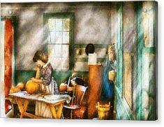 Autumn - Halloween - Carving A Pumpkin Acrylic Print by Mike Savad