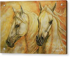 Autumn Horses Acrylic Print by Silvana Gabudean Dobre
