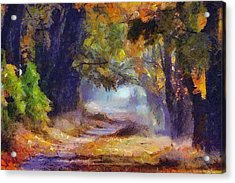 Acrylic Print featuring the painting Autumn In Forest by Georgi Dimitrov