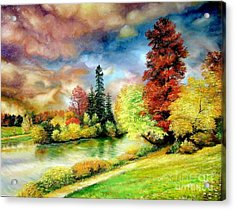 Acrylic Print featuring the painting Autumn In Park by Sorin Apostolescu