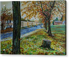 Autumn In South Road - Painting Acrylic Print by Veronica Rickard