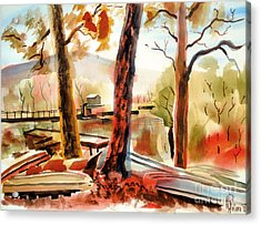 Autumn Jon Boats II Acrylic Print by Kip DeVore