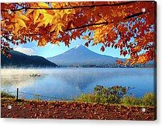 Autumn Kawaguchiko Lake And Mt.fuji Acrylic Print by Dewpixs Photography