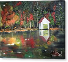 Acrylic Print featuring the painting Autumn - Lake - Reflecton by Jan Dappen