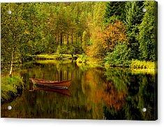 Autumn Lake With Boat Acrylic Print