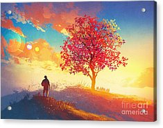 Autumn Landscape With Alone Tree On Acrylic Print