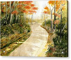 Autumn Lane Acrylic Print by Melly Terpening