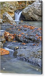 Autumn Leaves At Little Missouri Falls - Arkansas - Waterfall Acrylic Print