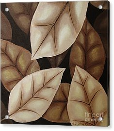 Autumn Leaves In Sepia Acrylic Print by Anna Bronwyn Foley