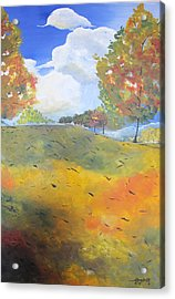 Acrylic Print featuring the painting Autumn Leaves Panel 2 Of 2 by Gary Smith