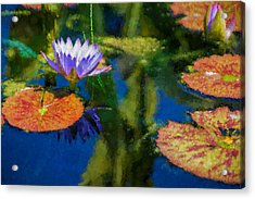 Autumn Lily Pad Impressions Acrylic Print