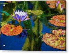 Autumn Lily Pad Impressions Acrylic Print