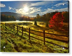 Autumn Meadow Sunrise I - West Virginia Acrylic Print by Dan Carmichael