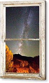 Autumn Milky Way Night Sky Rustic Window View Acrylic Print