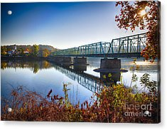 Autumn Morning View Of The New Hope Lambertville Bridge  Acrylic Print by George Oze
