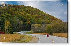 Acrylic Print featuring the photograph Autumn Motorcycle Rider / Orange by Patti Deters