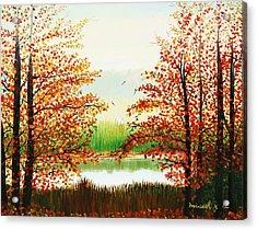 Autumn On The Ema River Estonia Acrylic Print