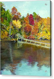 Acrylic Print featuring the painting Autumn On The James by Sandra Nardone