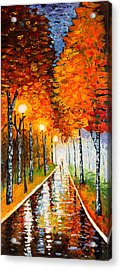 Autumn Park Night Lights Palette Knife Acrylic Print
