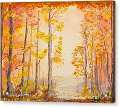 Acrylic Print featuring the painting Autumn Path by Cathy Long