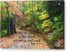 Autumn Path With Scripture Acrylic Print
