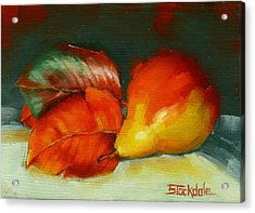 Acrylic Print featuring the painting Autumn Pear Leaves And Fruit by Margaret Stockdale