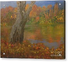 Acrylic Print featuring the painting Autumn Pond by Holly Martinson