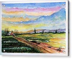 Acrylic Print featuring the painting Autumn Rain #2 by Richard Benson