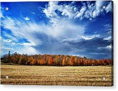 Autumn Rain Over Door County Acrylic Print by Mark David Zahn
