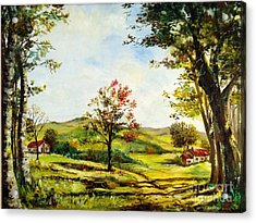 Acrylic Print featuring the painting Autumn Road by Lee Piper